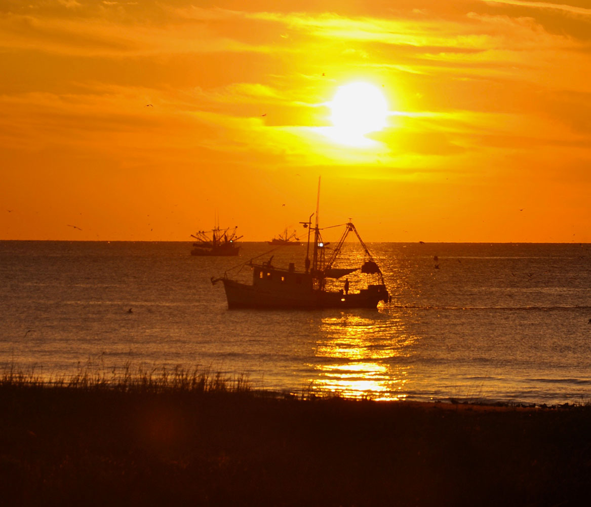 fishing boat on horizon at sunset