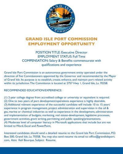 Job Opening at the Grand Isle Port Commission